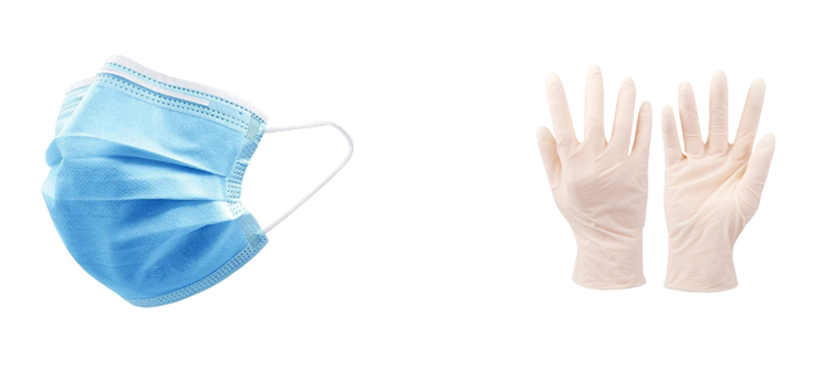 facemask and gloves